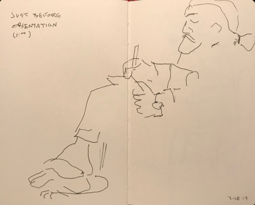 Sketch: Pen and Ink - Man in Sandals Just Before Orientation