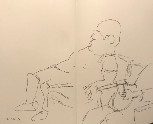 Sketch: Pen and Ink - Man Slouching All The Way Backward