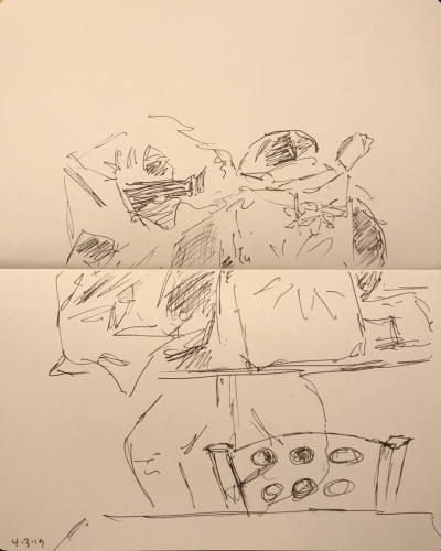Sketch: Pen and Ink - Man Surrounded By Bags