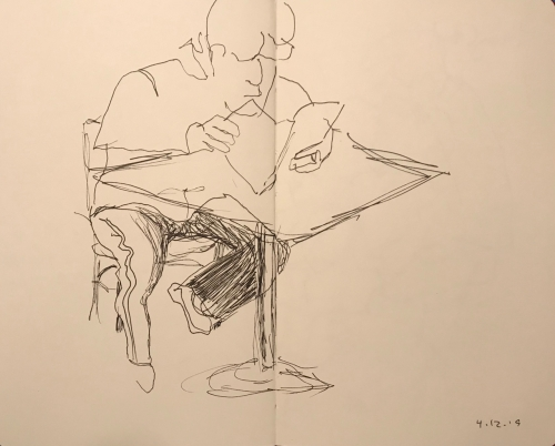 Sketch: Pen and Ink - Man with Stripe on His Leg