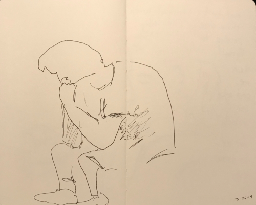 Sketch: Pen and Ink - Man with Two Dimensional, Tilted Head