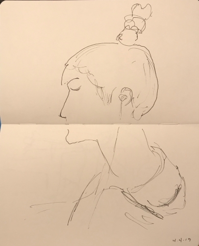 sketch: Pen and Ink - More Careful Portrait of Woman in Disproportionate Sketch