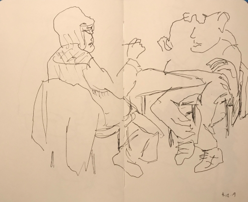 Sketch: Pen and Ink - One Handed Knitting and Scared Man