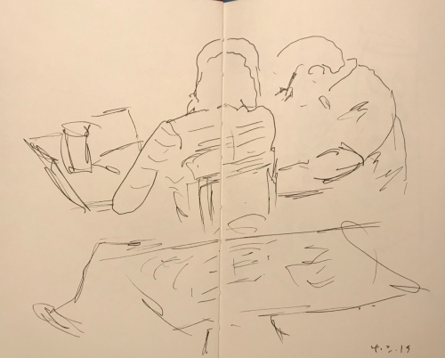 Sketch: Pen and Ink - Study Time