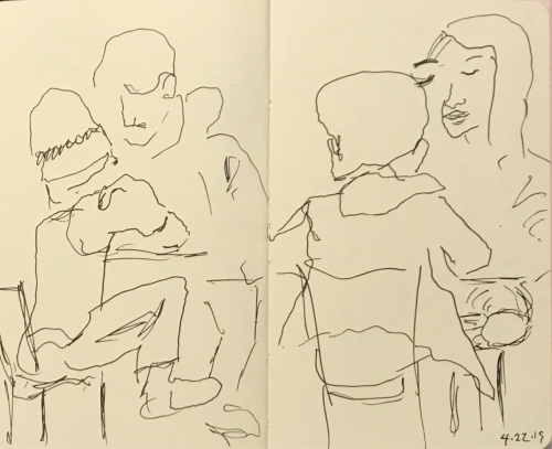 Sketch: Pen and Ink - Teenagers Studying