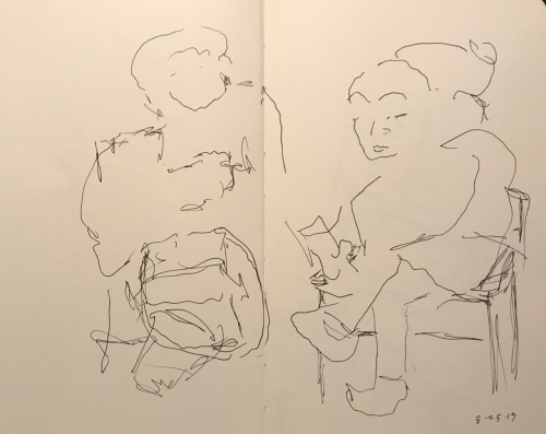 Sketch: Pen and Ink - Two People Waiting