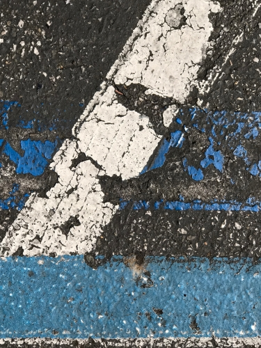 Photography: Street Photography - Wide, Mostly-Erased Bliue Line Interrupted