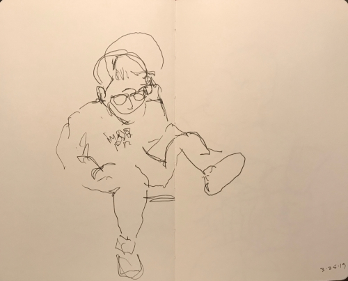 Sketch: Pen and Ink - Woman in Unladylike Pose