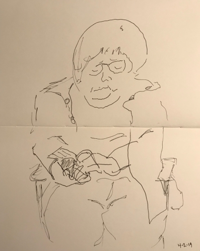 Sketch: Pen and Ink - Woman Reading a Paperback Book