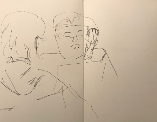 Sketch: Pen and Ink - Woman with Square Hairline and Hinky-Drawn Hand