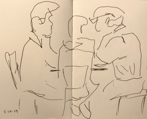 Sketch: Pen and Ink - Family Discussion