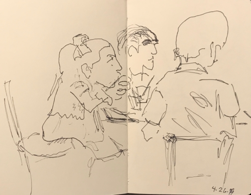 Sketch: Pen and Ink - Father and Two Little Girls