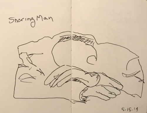 Sketch: Pen and Ink - Snoring Man Drawn Blind