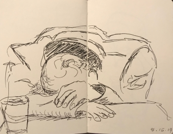 Sketch: Pen and Ink - Snoring Man Sighted Drawing