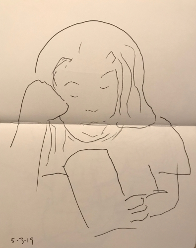 Sketch: Pen and Ink - Thinking or Sleeping