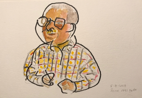 Sketch: Pen and Ink and Watercolor -Watercolor Portrait Over Blind Drawing