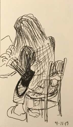 Sketch: Pen and Ink - Woman Feverishly Typing with Pocketbook Under Her Arm
