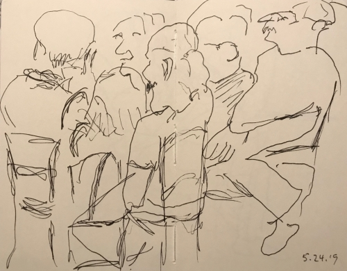 Sketch: Pen and Ink - Crowd at the Table