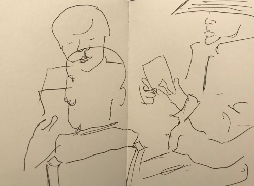 Sketch: Pen and Ink - Family and Woman with Hat, Reading