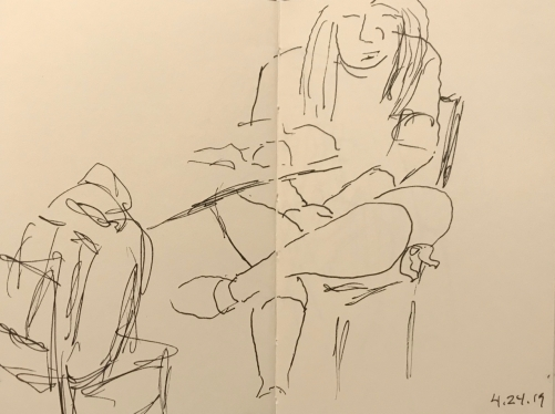 Sketch: Pen and Ink - Girl with Backpack and Crossed Legs