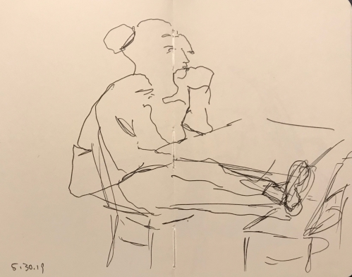 Sketch: Pen and Ink - Girl with Bun, Feet Up
