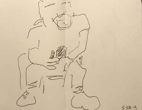 Sketch: Pen and Ink - Man with Goatee in Waiting Room