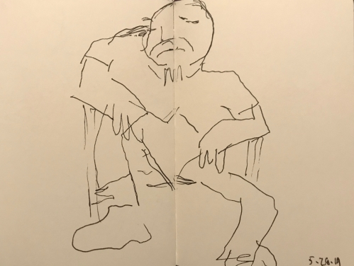 Sketch: Pen and Ink - Man with Goatee Relaxing