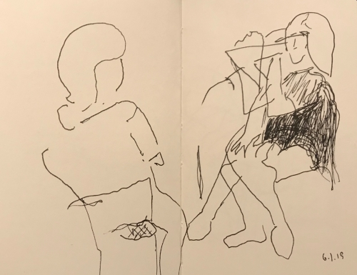 Sketch: Pen and Ink - Observing a Very Active Person