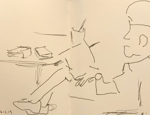 Sketch: Pen and Ink - Relaxing with Big Thoughts