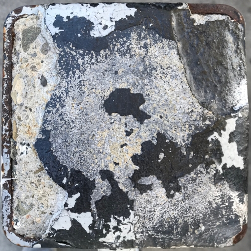 Photography: Street Photography - Top of a Square Cement-Filled Metal Post