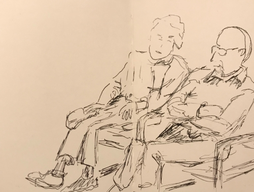 Sketch: Pen and Ink - Waiting Room Couple