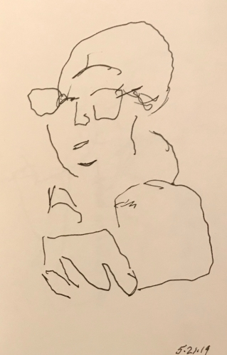 Sketch: Pen and Ink - Woman Looking At Phone