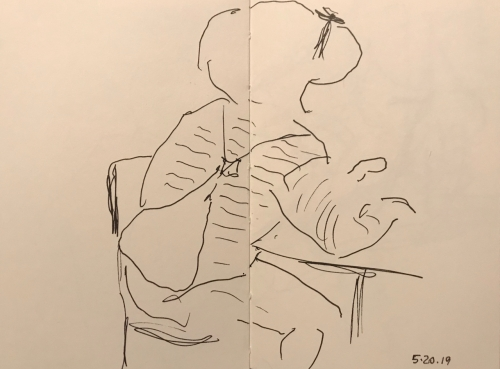 Sketch: Pen and Ink - Woman with Striped Blouse and Backpack