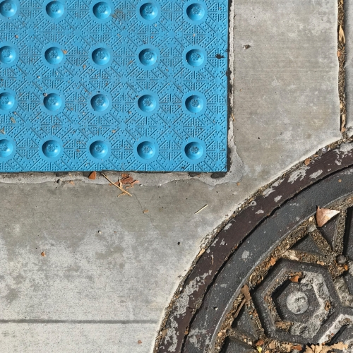 Photography: Street Photography - Blue Bumpy Rectangle Approaching Double Semicircle