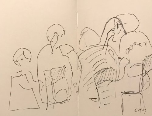 Sketch: Pen and Ink - Book Group with Child
