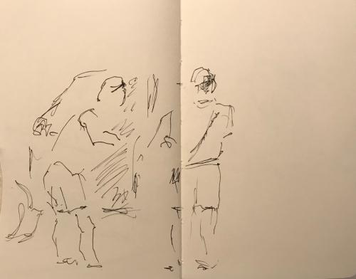 Sketch: Pen and Ink - Customer at the Car Wash