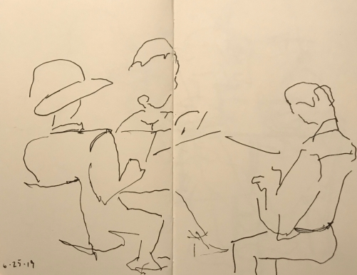 Sketch: Pen and Ink - Family Reading Time, Mom with Hat