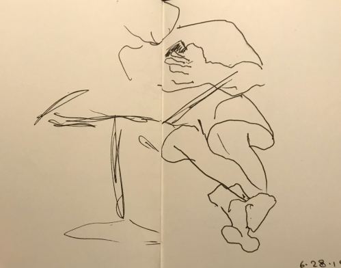 Sketch: Pen and Ink - Making a Call in Short Pants