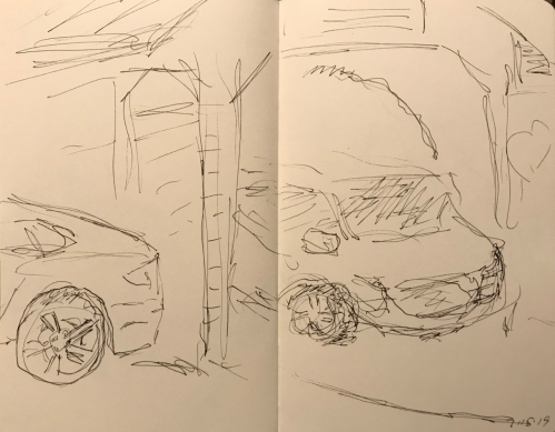Sketch: Pen and Ink - Car Coming Through