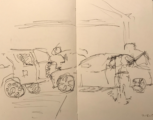 Sketch: Pen and Ink - Detailing at the Car Wash