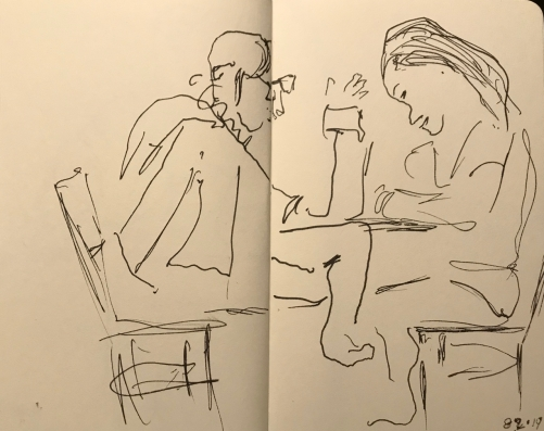 Sketch: Pen and Ink - Double Portrait Interrupted by a Seam