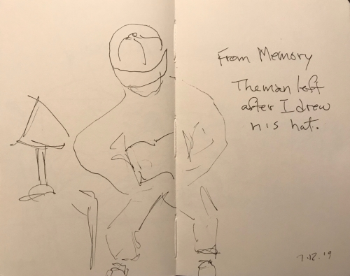 Sketch: Pen and Ink - From Memory: The Man Left After I Drew His Hat