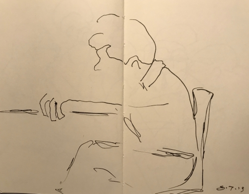 Sketch: Pen and Ink - Grasping the Edge of the Table