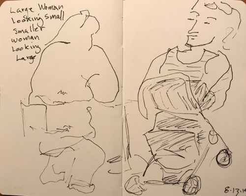 Sketch: Pen and Ink - Large Woman Looking Small, Smaller Woman Looking Large