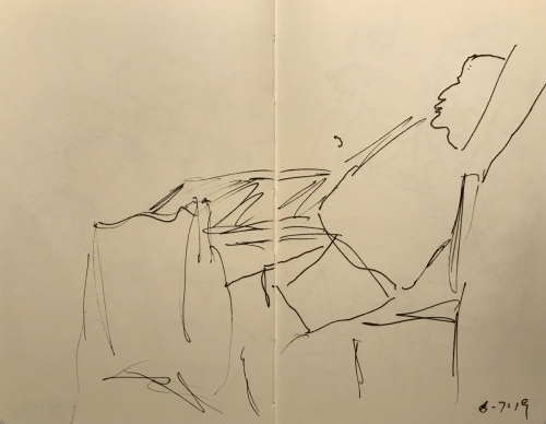 Sketch: Pen and Ink - Man with Large Middle, Stretching