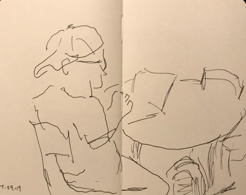 Sketch: Pen and Ink - Man with the Backward Cap