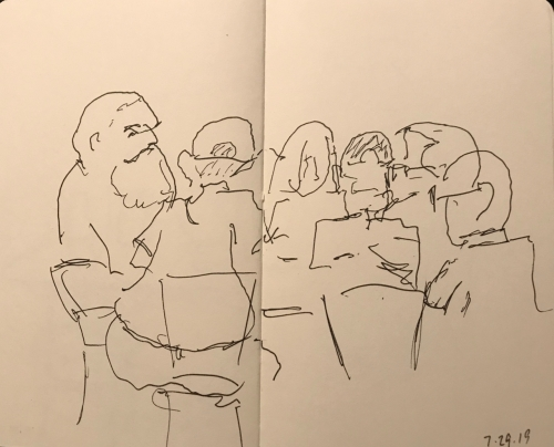 Sketch: Pen and Ink - Morning Book Friends Gathering