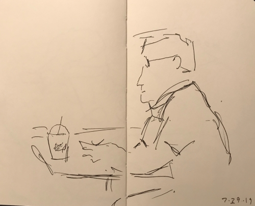 Sketch: Pen and Ink - Very Serious Man with a Whip Cream Drink