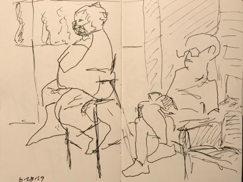 Sketch: Pen and Ink - Anxiety and Comfort in the Waiting Room
