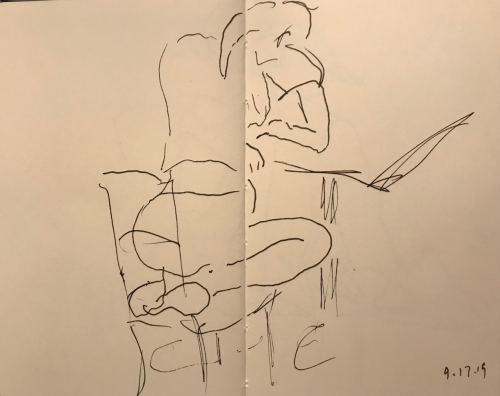 Sketch: Pen and Ink - Blind Drawing of Seated Woman, Closer to Reality